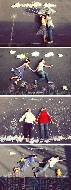 Great Set of Chalked Situations with Couple Laying, Posing