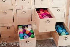 Love this idea for organizing yarn! Id have to purcahse about at least 50 of these 4 my stash. Sewing Room Storage, Yarn Storage, Craft Room Storage, Craft Rooms, Knitting Room, Home Crafts, Diy Crafts, Yarn Organization, Yarn Stash