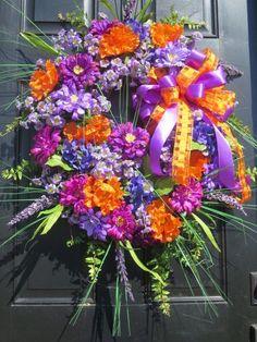 Bright Summer Wreath Summer Door Wreaths by hollyhillwreaths