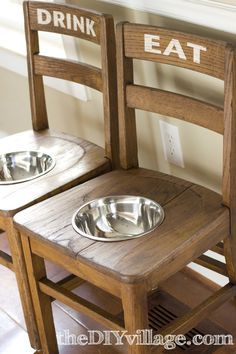 Elevated feeding station.  Perfect for large dogs, especially as they get older and bending to the ground becomes increasingly hard for them.