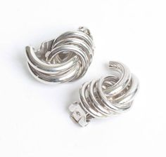 Swirled Dimensional Earrings Silver Tone Bergere Designer