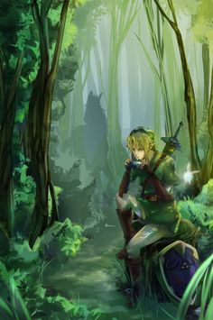 Link with ocarina in the woods - i wish i had a teleporting horse