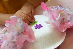 Paper Bowl Tea Party Hats With Paper Tissue Flowers