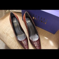 Stuart Weitzman Shoes Beautiful, worn once, made in Spain, Cafe Shadow Gator design, includes original shoebox, comfortable, 3 inch heel, looking for a loving home!! Stuart Weitzman Shoes Heels