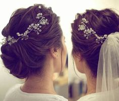 28 Ideas Bridal Updo With Headband And Veil Wedding Hairstyles With Veil, Bride Hairstyles, Headband Hairstyles, Hair Updo, Wedding Hair And Makeup, Wedding Hair Accessories, Hair Makeup, Updo With Headband, Bridal Updo