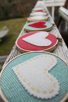 Felt, embroidery thread, fabric, hoop, needle,