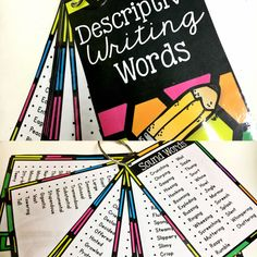 "FREE-Create a mini-booklet of descriptive words perfect for a writing center or for group tables! Include Lists of: -Sound Words -Sight Words -Taste Words -Smell Words -Touch Words -Movement Words -""Said"" Words -Big Words -Little Words -Good Words -""Bad"" Words -Character Traits -Feeling Words -Speed Words"