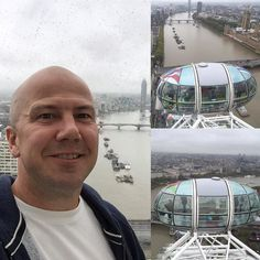 On the @londoneye on a typically rainy and gloomy day in #London. We've been blessed with excellent weather during our trip and it wouldn't be complete with a little rain. #England #travel