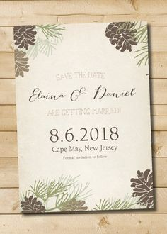 Rustic Pinecone Fall Winter wedding Save the Date - Digital Files