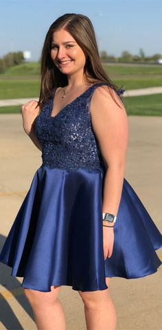 d7b42062443c Royal Blue Lace Applique Homecoming Dresses Backless Short Prom Dress  ARD1697
