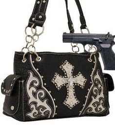 CONCEALED CARRY HANDGUN WESTERN STUDDED CROSS SHOULDER HANDBAG WITH RHINESTONE PURSE BLACK *** You can find out more details at the link of the image.