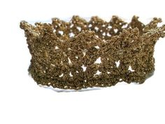 Baby lace crown Cake smash crown Gold mini crown by Crochet50
