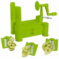 Brieftons Tri-Blade Spiralizer: Strongest-and-Heaviest Duty Vegetable Spiral Slicer, Best Veggie Pasta Spaghetti Maker for Low Carb/Paleo/Gluten-Free Meals, With 3 Exclusive Recipe eBooks - Green Best Vegetable Spiralizer, Best Spiralizer, Zucchini Spaghetti, Pasta Spaghetti, Zucchini Noodles, Spiral Vegetable Slicer, Noodle Maker, Donut Maker, Specialty Cookware