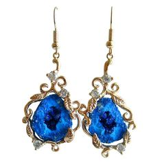 Blueberry Azurite Geodes Diamonds Gold Earrings   1stdibs.com