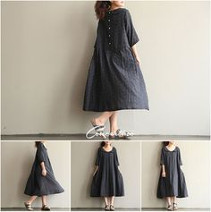 Little Black Dress coton robe Loose chemisier robe par Concertino