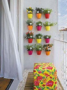 DARLING, colorful, VERTICAL herb garden!!