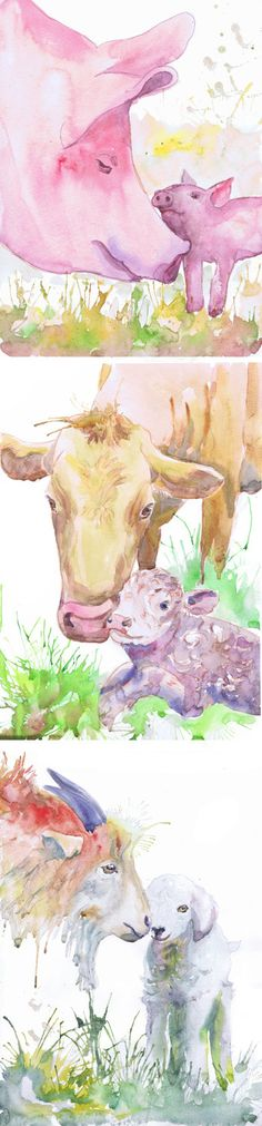 Farm Animals Nursery Set of 3 prints Watercolor Painting Boy Girl Nursery Farm Decor Art Watercolour Print New baby Gift Farm animal prints  Set of 3 prints-   high quality fine art prints of my original watercolor painting. It is the work of a watercolor series Portraits of the Heart    Size paper: 14,8 × 21cm,5 4/5 × 8 1/4, A5 (with white borders) - 18.00 $  21 cm x 29,7 cm, 8 1/4 x 11.5/8, A4.(with white borders) - 36.00 $  29,7cm × 42cm, 11,69 × 16,54, A3(with white bo...