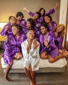 getting ready wedding photo with bridal party Purple Wedding, Wedding Colors, Dream Wedding, Wedding Day, Wedding Goals, Wedding Pics, Getting Ready Wedding, Brides And Bridesmaids, Purple Bridesmaid Dresses