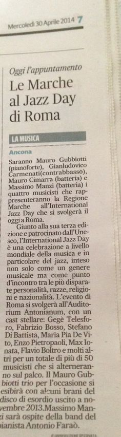 Newspaper retail talking about Int Jazz Day 2014