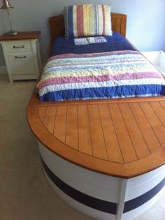 ... Speedboat Boat Bed Nightstand Pottery Barn Kids w Trundel and Toy Storage ...