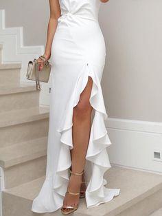 One Shoulder Cutout Flounce Inverted Pleat Plain Evening Dresses Evening Dresses, Prom Dresses, Formal Dresses, Long Dresses, Shift Dresses, Dress Long, Bridesmaid Dress, Plain Dress, White Dress