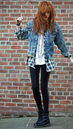OUTFIT: white shirt, flannel, denim jacket, black leggings, black doc martins