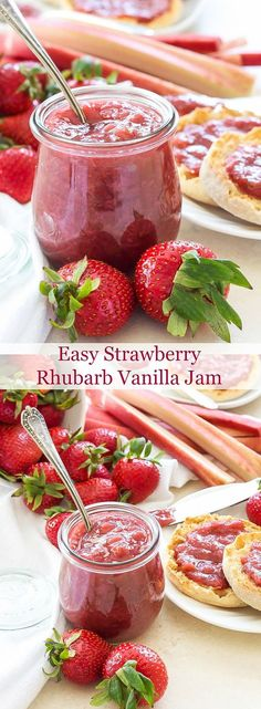 Easy Strawberry Rhubarb Vanilla Jam with Cardamom   A delicious, pectin-free, no canning required jam anyone can make!