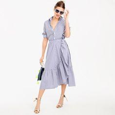 Pre-order Ruffle wrap skirt in shirting stripe - UNDER $100