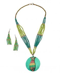 Beaded Necklace Set with Fish Pendant