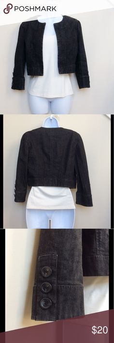 LOFT Black Open Front Crop Denim Jacket Black denim cropped open front jacket from LOFT, size 4.  Jacket is open front and does not have closure (no zip, button, etc.).  There is three button detail on the sleeves, as pictured.  Jacket is in good, gently used condition. LOFT Jackets & Coats Jean Jackets