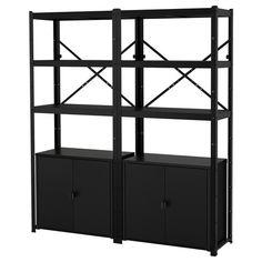 HAVSTA Storage combination w/glass doors - dark brown - IKEA