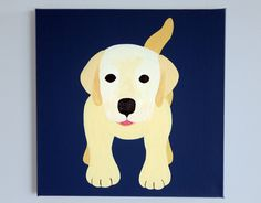 Labrador dog nursery art painting on canvas. Puppy picture painting on canvas for kids, baby, & child nursery in navy (not a print) via Etsy