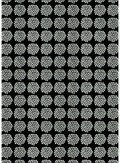 Puketti cotton. Annika Rimala designed this print in 1965 and it's remained a classic | Marimekko Fabrics | Puketti, which translates to 'Bouquet', features bursts of white minimalist flowers with tiny green dots