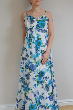 Vintage maxi dress 70s maxi dress 1970s maxi dress floral maxi