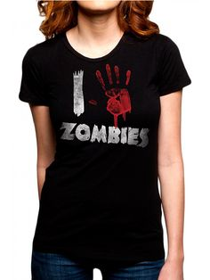 "Women's ""I Handprint Zombies"" Tee by Goodie Two Sleeves (Black) #InkedShop #zombies #tee #womens"