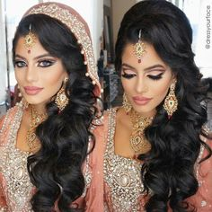 Dress your Face DYF dupatta with hair down - Trend Hair Makeup And Outfit 2019 Asian Bridal Hair, Asian Bridal Makeup, Indian Wedding Makeup, Indian Wedding Hairstyles, Indian Makeup, Bridal Makeup Looks, Bride Makeup, Wedding Hair And Makeup, Indian Beauty