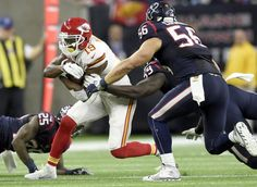 Kansas City Chiefs wide receiver Jeremy Maclin (19) darted in between Houston Texans cornerback Kareem Jackson (25), Houston Texans outside linebacker Whitney Mercilus (59) and Houston Texans inside linebacker Brian Cushing (56) in the third quarter during Saturday's AFC Wildcard football game at NRG Stadium on January 9, 2016 in Houston, Texas. Maclin left the game with a knee injury during this play. Chiefs beat the Texans 30-0.