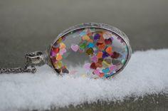 shiny hearts necklace glass necklace colorful necklace valentines necklace metalwork necklace romantic jewelry glass jewelry glass locket