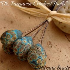 DK. TURQUOISE  Crushed Shells  - Handmade Lampwork Glass headpins by HavanaBeads.etsy.com