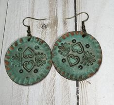 Hand stamped heart pattern leather earrings-round �� It Must Be a Sign
