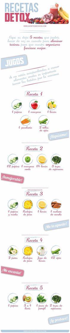 Desintoxica tu cuerpo con estos 5 jugos verdes desintoxicantes. #infografias #salud #jugos