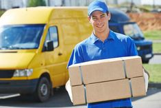 Delivery man with parcel box. Smiling young male postal delivery courier man in , Parcel Delivery, Delivery Man, Mail Delivery, International Courier Services, International Movers, Parcel Box, Parcel Service, Courier Companies, Work From Home Companies