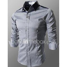 Hombre Negocios   Chic de Calle Básico - Algodón Camisa 2194b334f7c90