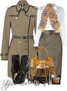 army tones with  a burberry scarf