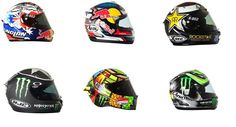 The helmets of the 2012 MotoGP grid - somewhat predictably, I like the matte black one best.