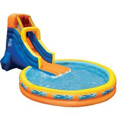 Banzai The Plunge (Backyard Inflatable Waterslide with Giant Oversized Pool) Image 3 of 3 Blow Up Water Slide, Kids Water Slide, Water Slides, Mochila Tommy, Banzai Water Slide, Backyard Water Parks, Inflatable Water Park, Pool Images, Modified Cars