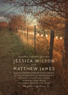 Rustic Fall Themed Wedding Invitations Country Farm Fence Wedding Invitations. Feature creative string lights on a farm fence, a romantic country path and great typography. Perfect for rustic country, outdoor, farm, barn, forest weddings etc. Order your first sample today! More at http://superdazzle.com #weddinginvitations