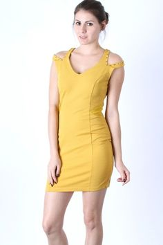 *** New Style ***TEXTURED AND MESH BLOCKED DRESS WITH SPLIT STUDDED SHOULDERS