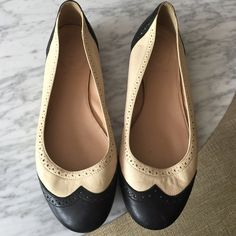 J crew leather flats Some use, great condition. Size 8 J Crew flats, black and white leather, made in Italy J Crew Shoes Flats & Loafers