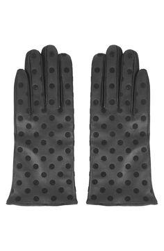 Polka Dot Leather Gloves